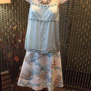 Anthro bird skirt and 100% silk beaded top